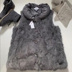 Real rabbit fur reversible vest size M/L